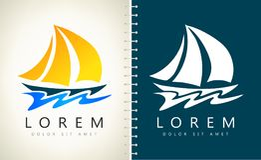 Yacht- och våglogovektor stock illustrationer
