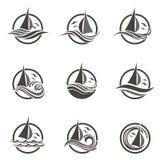 Yacht- och vågsymboler stock illustrationer
