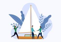 Yacht oder Segelboote mit menschlichen Konzepten lizenzfreie abbildung