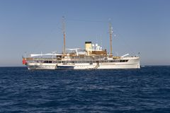 Yacht off the coast of Monte-Carlo, the Principality of Monaco, Western Europe on the Mediterranean Sea Stock Photos