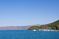 Yacht off the coast of the Turkish islands in the Aegean Sea Stock Photo