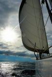 Yacht in the open sea Stock Photos