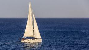 Yacht at Open Sea Stock Image