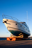 Yacht out of the water Royalty Free Stock Photos