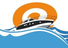 Yacht på en brant vänd royaltyfri illustrationer