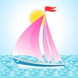 Yacht på havet stock illustrationer