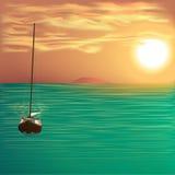 Yacht på havet royaltyfri illustrationer