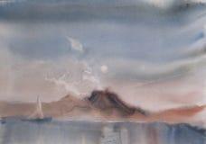 Yacht på havet - vattenfärgmålning Arkivfoton