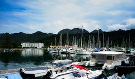 Yacht på kajen Fotografering för Bildbyråer
