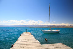 Yacht på laken Arkivbilder