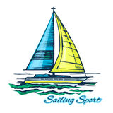 Yacht på vågorna royaltyfri illustrationer
