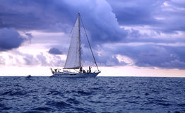 Yacht in the Pacific ocean at sunset Stock Image