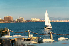 Yacht in Palma de Majorca  on a sunny day Stock Images