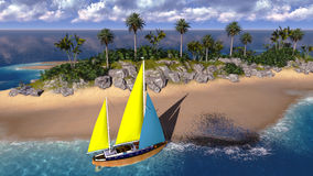 Yacht in paradise island Royalty Free Stock Images