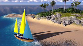 Yacht in paradise island Royalty Free Stock Photos