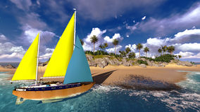 Yacht in paradise island Royalty Free Stock Photo