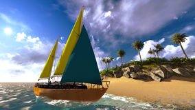 Yacht in paradise island Stock Photo
