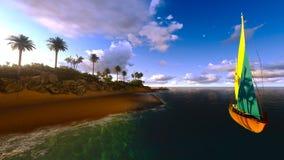 Yacht in paradise island Stock Image