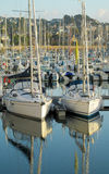 Yacht parked in the bay Royalty Free Stock Photography