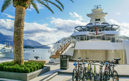 Yacht parked in Poro Montenegro,Tivat Stock Photography