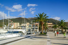 Yacht parked in Poro Montenegro,Tivat Royalty Free Stock Photos
