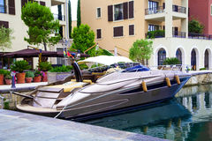 Yacht parked in the port Royalty Free Stock Images