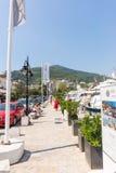 Yacht parking promenade in Budva, Montenegro Stock Image