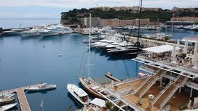 Yacht parking spots in Mediterranean resort, expensive sea transport, elite life. Stock footage stock video footage