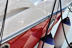 Yacht part and maintenance. White and blue floater of yacht stop in harbor, shown as travel, maritime activity, maintenance or enjoy holiday Royalty Free Stock Photos