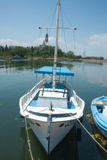 Yacht at the pier of the Bulgarian town of Sozopol Royalty Free Stock Photos