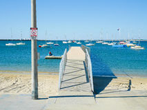 Yacht pier with no diving sign Stock Image