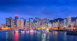Yacht Pier Twilight. Yacht Pier At Twilight In Hong Kong City Stock Images
