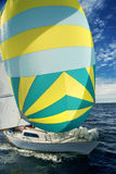 Yacht with pink spinnaker Stock Images