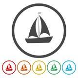 Yacht Plan symbol för singel på cirkeln vektor illustrationer