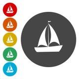 Yacht Plan symbol för singel på cirkeln stock illustrationer