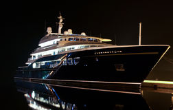 Yacht in port. Yacht in dock in cold winter night Royalty Free Stock Image