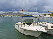 Yacht in the port of Alcudia. Sitted in the city of Mallorca, Spain Stock Photo