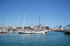 Yacht port in Barcelona Royalty Free Stock Image