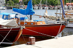 Yacht in the port city of Flensburg Germany.... Stock Images