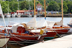 Yacht in the port city of Flensburg Germany! Stock Photos