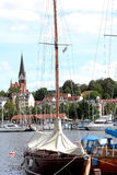 Yacht in the port city of Flensburg Germany. Stock Photo