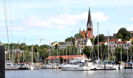 Yacht in the port city of Flensburg Germany Royalty Free Stock Image