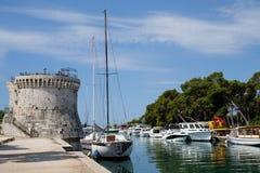 Yacht port in Croatia stock photo