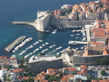 Yacht port in Dubrovnik. Yacht port in old city of Dubrovnik in May seen from hill, Croatia Royalty Free Stock Images