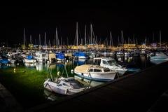 Yacht port at night. stock image