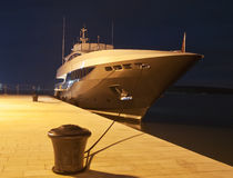 Yacht in port. Modern luxury yacht anchor in the port Stock Photography