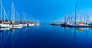 Yacht port over blue nature scene Royalty Free Stock Image