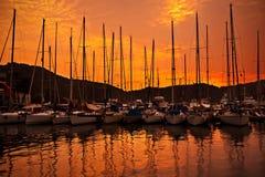Yacht Port Over Orange Sunset Royalty Free Stock Image