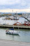 Yacht  in the port of Rimini Stock Photo