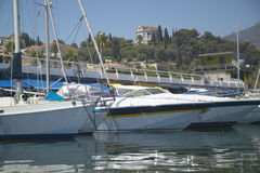 Yacht in port at Saint Jean Cap Ferrat, French Riviera, France Royalty Free Stock Photos